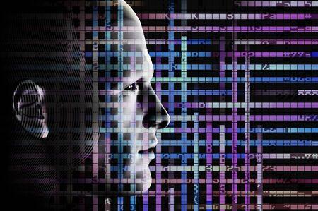 code computer: C�digo de retrato y equipo masculino. Creado digitalmente ilustraci�n futurista.