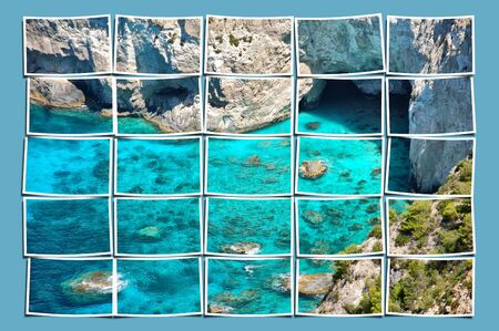 Composition series of small photographs forming a large panoramic image of rocky beach and caves in Zakynthos, Greece. photo