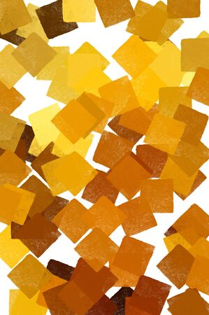 Yellow squares abstract pattern on white background. Digitally created illustration. Stock Illustration - 6597557