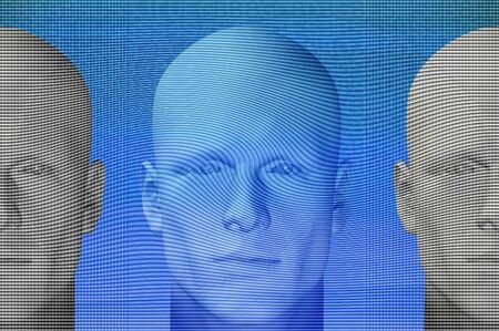 Futuristic male figures and abstract shapes. 3d digitally created futuristic illustration. illustration