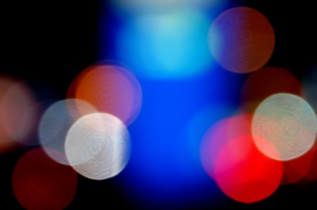 Defocused colorful light dots. Abstract background. photo