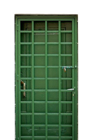 Green door and locked protective metal frame. Stock Photo - 7714756