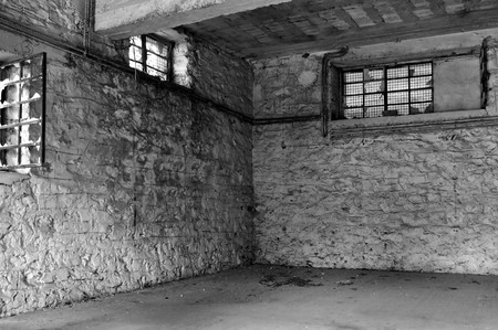 Empty industrial room and textured white wall. Abandoned warehouse interior. Stock Photo - 8228616