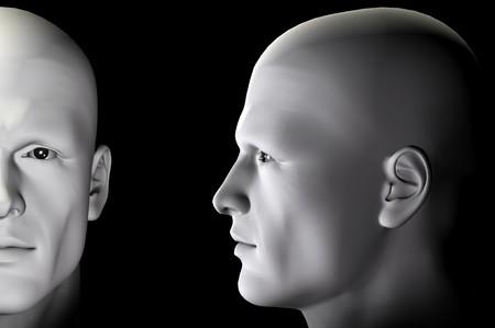 Profilo di figura maschia e ritratto su sfondo nero. Firma digitale creata illustrazione 3d.
