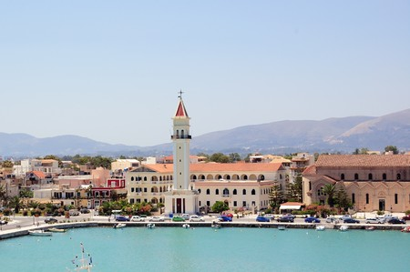 Panoramic view of the town and port of Zakynthos, Greece. photo