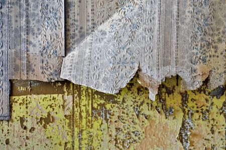 chipped paint: Torn vintage wallpaper shreds and peeling paint wall texture.