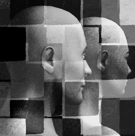 smudged: Futuristic couple and geometric pattern. 3d black and white illustration. Stock Photo