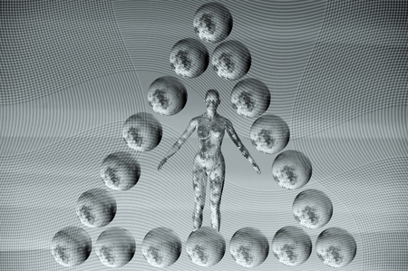 Statue of female figure in a pyramid of spheres. 3d futuristic illustration. Stock Illustration - 8597183