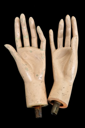 severed: Weathered severed hands of plastic mannequin doll. Stock Photo