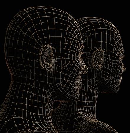 Futuristic couple wire frame silhouette. 3d illustration on black background. Stock Illustration - 8904807