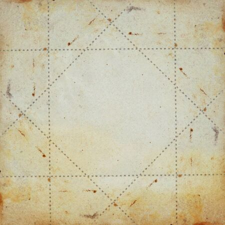 Old yellow paper grunge background. Dotted lines square frame illustration. Stock Illustration - 8904804