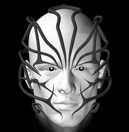 maschera tribale: Uomo con la maschera tribale futuristico. Illustrazione 3D. Archivio Fotografico