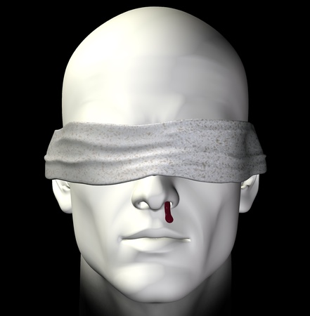 abducted: Blindfolded tortured man with bleeding nose. 3d illustration. Stock Photo