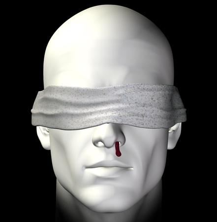 Geblinddoekt gemarteld man met bloedende neus. 3D illustratie.