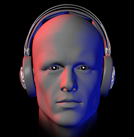 DJ with headphones and nightclub lights on black background. 3d illustration.