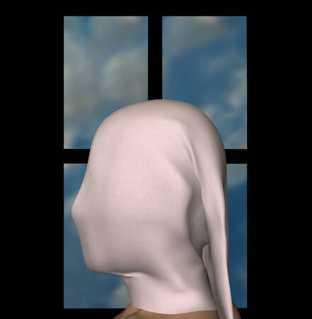 concealed: Female figure draped with white cloth and blue sky window frame. 3d illustration. Stock Photo