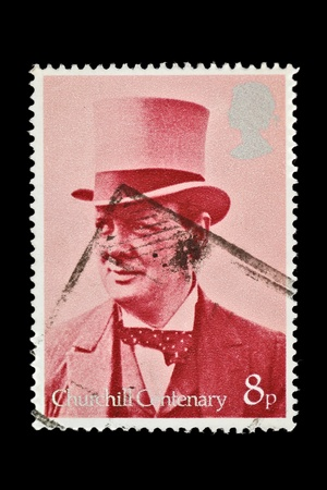 winston: Winston Churchill vintage cancelled postage stamp commemorating the centenary of his birth. United Kingdom, 1974. Stock Photo
