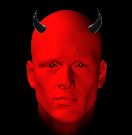 diabolical: Red devil on black background. Digital 3d illustration.
