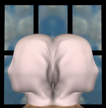 the 3d: Figuras femeninas id�nticas con la cabeza cubierta con un pa�o. Ilustraci�n 3D.