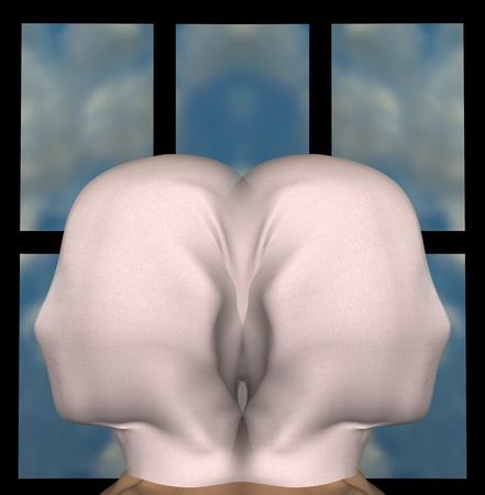 Identical female figures with heads draped with cloth. 3d illustration. Stock Photo