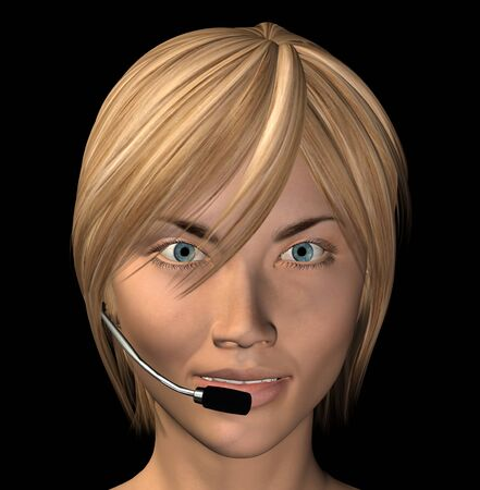 Smiling female operator with headset isolated on black background. 3d illustration. illustration