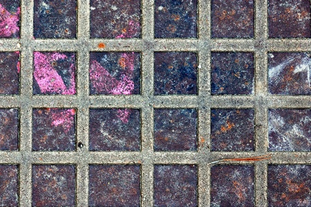 Rusty metal squares stained surface. Industrial background texture. Stock Photo - 9115765