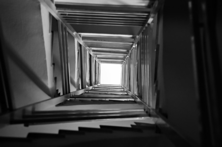 Staircase spiral perspective architecture background. Black and white. Stock Photo - 9115702