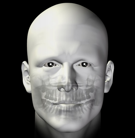jaw: Adult man dental scan x-ray. 3d illustration.