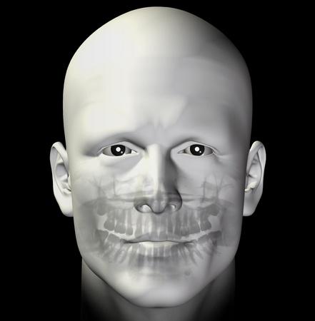 Uomo adulto dentale scansione a raggi x. Illustrazione 3D.