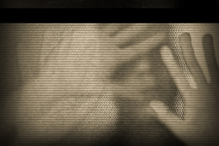 Distorted male figure behind flickering television screen.