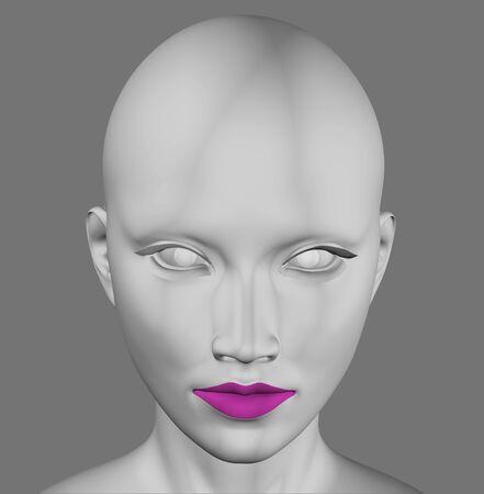 alien head: Gray alien female futuristic figure 3d illustration. Stock Photo