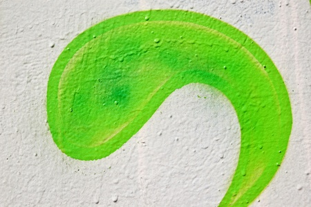 Wall with green paint curve shape. Abstract texture. Stock Photo - 9217253