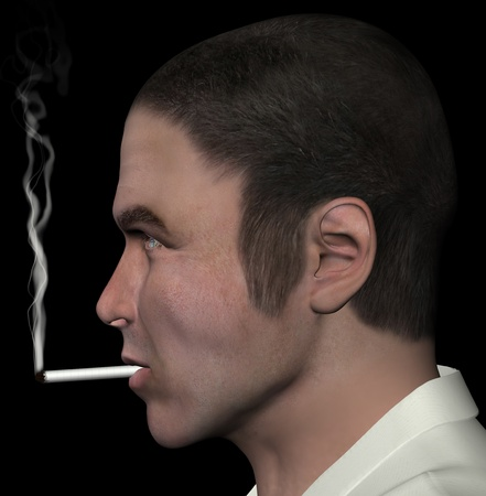 dangerous man: Man smoking and cigarette smoke 3d illustration. Stock Photo