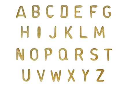 Alphabet soup pasta font. Typographic characters made from childrens food.