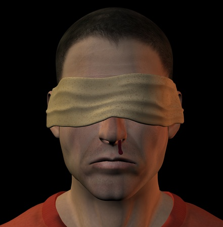 brutal: Tortured blindfolded man with bleeding nose. 3d illustration.