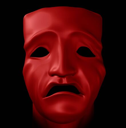 opera d 'art: Figure with tragedy mask on black background. Digitally created 3d illustration. Stock Photo