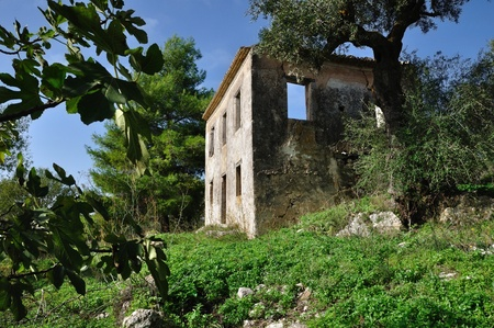 ramshackle: Abandoned rural house ruins in Zakynthos Greece. Stock Photo