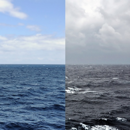 tempest: Sea and sky horizon during summer and winter. Ocean seascape seasons concept. Stock Photo
