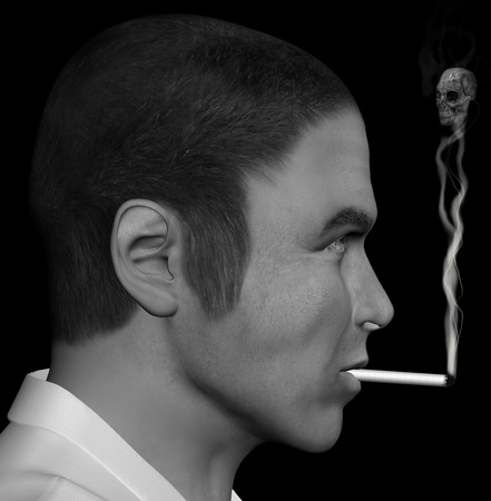 Man smoking a cigarette with skull forming through the smoke. 3d illustration. illustration