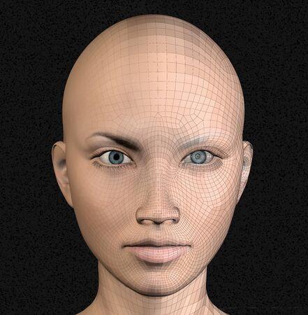 Figura femenina android alambre marco futurista ilustración 3d.