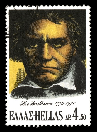 GREECE - CIRCA 1970. Vintage canceled postage stamp printed by the Hellenic Post to commemorate the 200th birthday of Ludwig van Beethoven, circa 1970. Stock Photo - 9420848