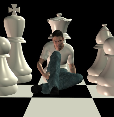 Man sitting on chessboard among team of white chess pawns. 3d illustration. illustration