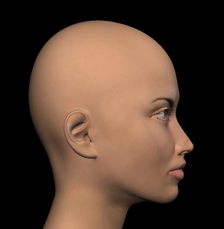 melancholic: Female figure profile on black background. Digitally created 3d illustration.