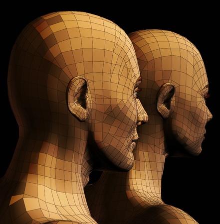female head: Par futurista de hombre y mujer de alambre ilustración 3d marco sobre fondo negro.