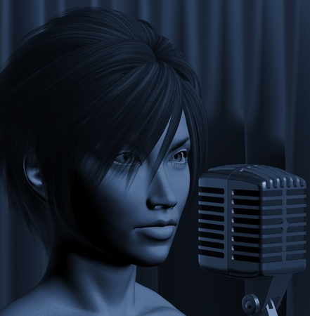 Female singer on jazz club concert stage. Live music performance 3d illustration. Stock Illustration - 9420847