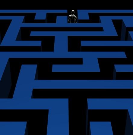 Man exiting complex maze labyrinth. 3d illustration. illustration