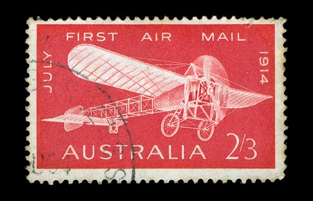 canceled: AUSTRALIA - CIRCA 1964. Vintage canceled postage stamp with Bleriot monoplane illustration printed by the Reserve Bank of Australia, Melbourne, to commemorate the 50th anniversary of the first air mail flight in Australia, circa 1964.