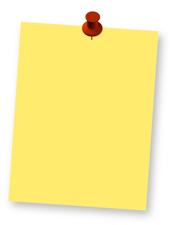 yellow note: Blank yellow note paper and red pushpin design element. 3d illustration. Stock Photo