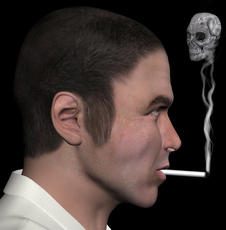 Man profile and smoke skull 3d illustration. illustration