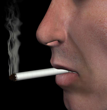 addicted: Smoking man closeup and cigarette smoke on black background. 3d illustration.